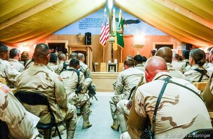 Memorial Service at FOB Kalsu, Iraq, 2004.